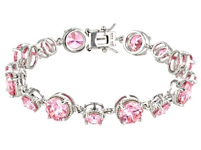 Pre-Owned Pink Cubic Zirconia Rhodium Over Sterling Silver Bracelet 41.23ctw