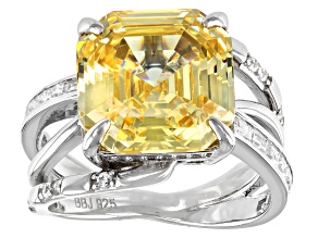 Pre-Owned Yellow And White Cubic Zirconia Rhodium Over Sterling Silver Asscher Cut Ring 16.89ctw