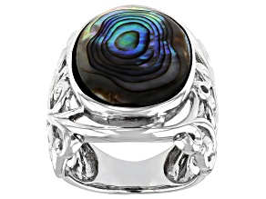 Pre-Owned Pacific Style™  20x15mm Cabochon Abalone Shell Rhodium Over Sterling Silver Ring