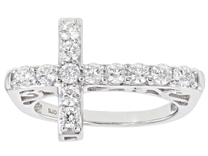 Pre-Owned White Cubic Zirconia Rhodium Over Sterling Silver Cross Ring 1.35ctw