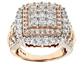 Pre-Owned Cubic Zirconia 18k Rose Gold Over Silver Ring 4.95ctw (3.51ctw DEW)