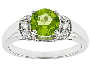 Pre-Owned Green Peridot Rhodium Over Sterling Silver Ring 1.80ctw