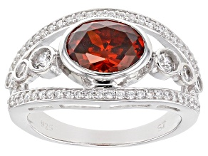 Pre-Owned Red And White Cubic Zirconia Rhodium Over Sterling Silver Ring 4.02ctw