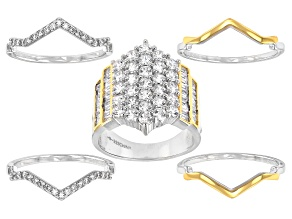 Pre-Owned White Cubic Zirconia Rhodium And 14K Yellow Gold Over Sterling Silver Stackable Ring 4.87c