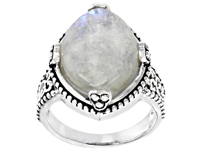 Pre-Owned Multicolor Rainbow Moonstone Rhodium Over Sterling Silver Solitaire Ring
