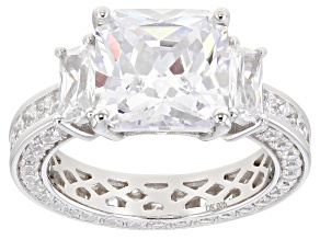 Pre-Owned White Cubic Zirconia Rhodium Over Sterling Silver Ring 13.37ctw