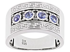 Pre-Owned Blue Tanzanite Rhodium Over Silver Mens Band Ring .41ctw