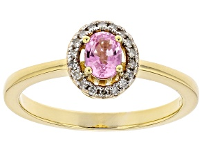 Pre-Owned Ceylon Pink Sapphire And White Diamond 18K Yellow Gold Over Silver Ring. 0.43ctw