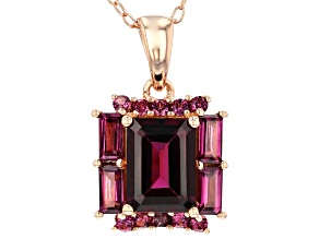 Pre-Owned Raspberry Color Rhodolite 18k Rose Gold Over Sterling Silver Pendant with Chain 2.20ctw