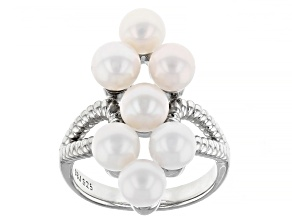 Pre-Owned White Cultured Freshwater Pearl Rhodium Over Sterling Silver Cluster Ring