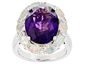 Pre-Owned Purple Amethyst Rhodium Over Silver Ring 8.49ctw