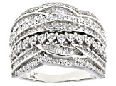Pre-Owned White Cubic Zirconia Rhodium Over Sterling Silver Ring 3.23ctw