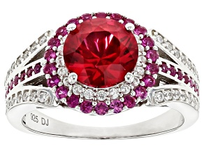 Pre-Owned Lab Created Ruby And White Cubic Zirconia Rhodium Over Sterling Silver Ring 3.33ctw.
