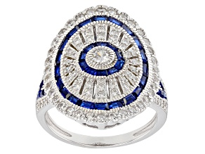 Pre-Owned Lab Blue Spinel & White Cubic Zirconia Rhodium Over Silver Ring
