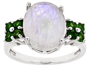 Pre-Owned White Rainbow Moonstone Rhodium Over Sterling Silver Ring .56ctw