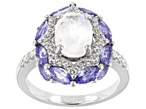 Pre-Owned White Rainbow Moonstone Rhodium Over Sterling Silver Ring 4.88ctw
