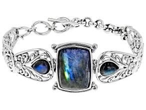 Pre-Owned Gray Labradorite rhodium over sterling silver bracelet