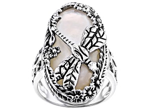 Pre-Owned Mother-of-Pearl  Rhodium Over Silver Dragonfly Ring