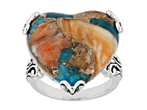Pre-Owned Blended Kingman Turquoise And Spiny Oyster Shell Rhodium Over Sterling Silver Solitaire Ri