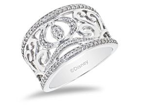 Pre-Owned Enchanted Disney Cinderella Carriage Ring White Diamond 14K White Gold 0.33ctw
