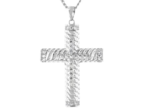 Pre-Owned White Cubic Zirconia Rhodium Over Sterling Silver Mens Cross Pendant With Chain 1.50ctw