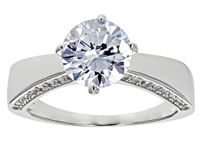 Pre-Owned Cubic Zirconia Rhodium Over Sterling Silver Ring 1.83ctw