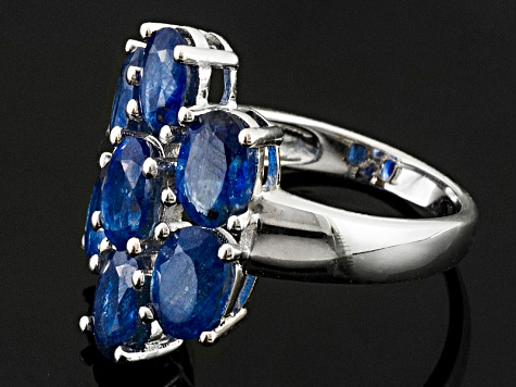 Pre-Owned Mahaleo Sapphire Rhodium Over Sterling Silver Ring 4.41ctw