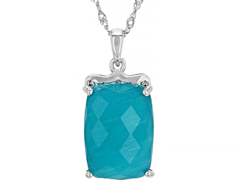 Pre-Owned Green Amazonite Rhodium Over Silver Pendant with Chain