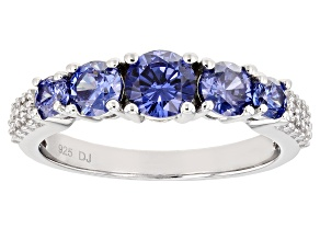 Pre-Owned Blue And White Cubic Zirconia Rhodium Over Sterling Silver Ring 2.30ctw