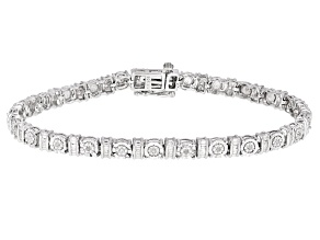 Pre-Owned White Diamond Rhodium Over Sterling Silver Tennis Bracelet 0.25ctw