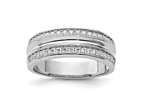 Pre-Owned White Cubic Zirconia Rhodium Over Sterling Silver Mens Band Ring