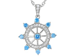 Pre-Owned Blue And White Cubic Zirconia Rhodium Over Sterling Silver Pendant With Chain 1.41ctw