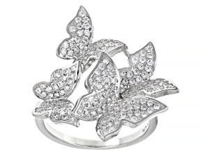 Pre-Owned White Cubic Zirconia Rhodium Over Sterling Silver Butterfly Ring 1.46ctw