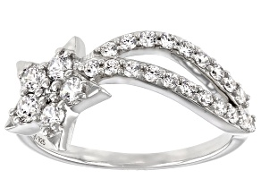 Pre-Owned White Cubic Zirconia Rhodium Over Sterling Silver Star Ring 1.16ctw (0.60ctw DEW)