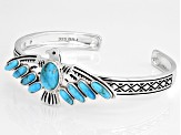 Pre-Owned Turquoise Rhodium Over Sterling Silver Eagle Bracelet