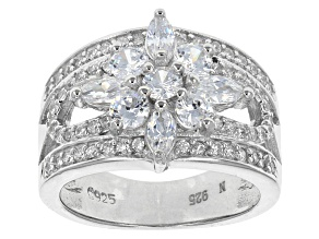 Pre-Owned Cubic Zirconia Rhodium Over Sterling Silver Ring 2.22ctw (1.58ctw DEW)