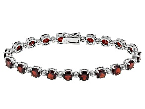 Pre-Owned Red Garnet Rhodium Over Sterling Silver Bracelet 16.51ctw