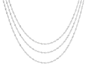 Pre-Owned Sterling Silver Singapore Chain Necklaces- Set Of Three