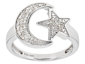 Pre-Owned White Diamond Rhodium Over Sterling Silver Moon And Star Ring 0.15ctw