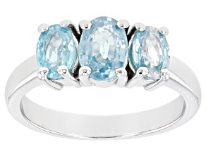 Pre-Owned Blue Zircon Rhodium Over Sterling Silver 3-Stone Ring 1.53ctw
