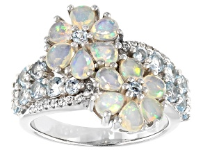 Pre-Owned Multi-color Ethiopian Opal Rhodium Over Silver Ring 2.23ctw