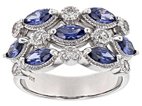 Pre-Owned Blue & White Cubic Zirconia Rhodium Over Sterling Silver Ring 3.16ctw