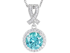 Pre-Owned Blue And White Cubic Zirconia Rhodium Over Sterling Silver Pendant With Chain 3.26CTW
