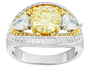 Pre-Owned Yellow And White Cubic Zirconia Rhodium Over Silver And 18k Yg Over Silver Ring 5.35ctw