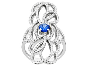 Pre-Owned Blue And White Cubic Zirconia Silver Ring 2.50ctw
