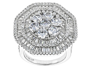 Pre-Owned White Cubic Zirconia Rhodium Over Silver Ring 8.24ctw