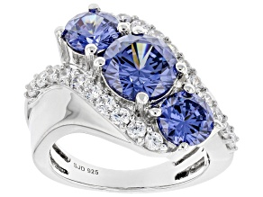 Pre-Owned Blue And White Cubic Zirconia Rhodium Over Sterling Silver Ring 7.15ctw