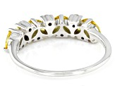 Pre-Owned Yellow And White Cubic Zirconia Rhodium Over Sterling Silver Ring 1.24ctw