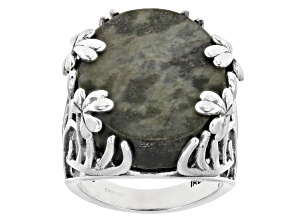 Pre-Owned Connemara Marble Sterling Silver Shamrock Vine Ring