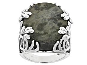 Pre-Owned Connemara Marble Sterling Silver Shamrock Vine Ring